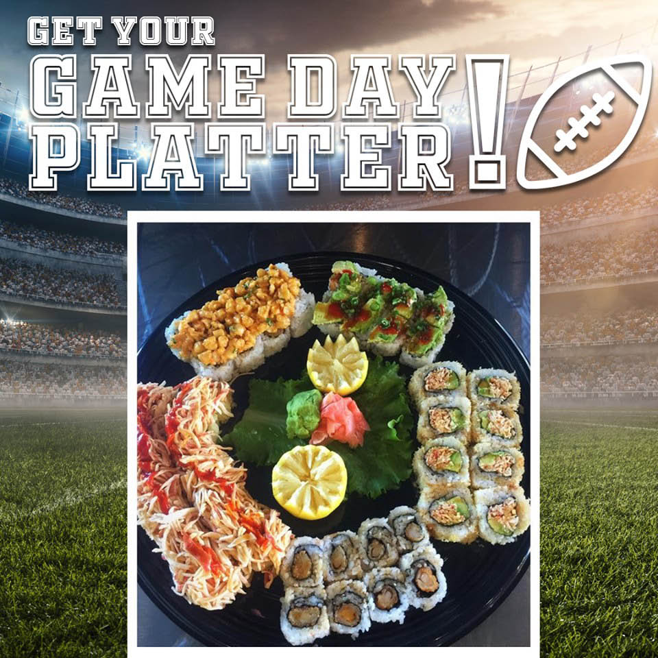 Seahawks Game Day sushi platters from Trapper's Sushi in Tukwila, Washington - Southcenter Mall - sushi coupons near me - sushi restaurants near me
