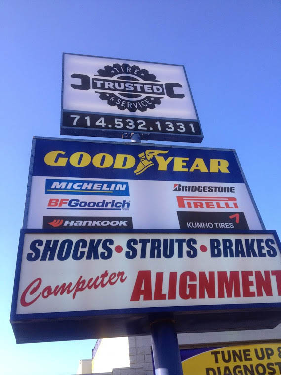 Trusted Tire and Service Oil Change outdoor signage
