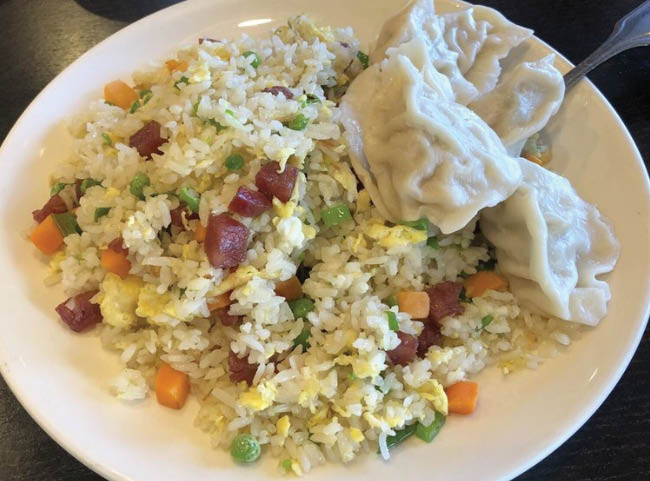 Handmade dumplings and fried rice from Wild Pepper Szechuan Cuisine in Tukwila, Washington - Chinese restaurants - dining coupons near me - Chinese food coupons near me