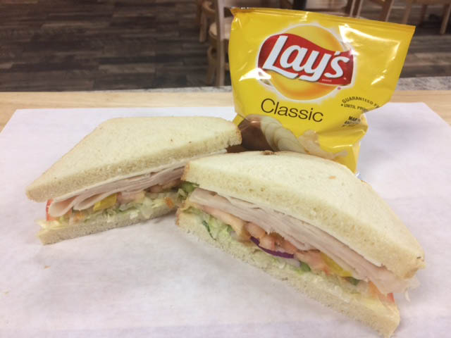 Turkey Sandwich and Chips at our bread store and restaurant (New location in Kaysville, Utah).