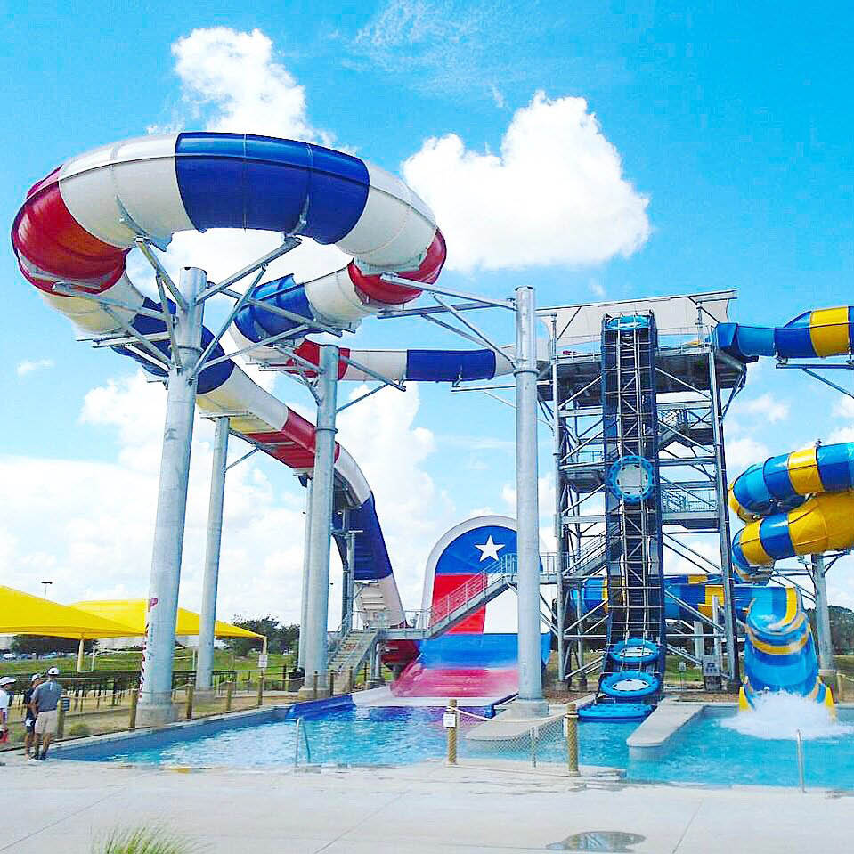 Water slide at family fun center in Houston