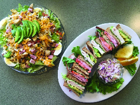 salad and sandwiches