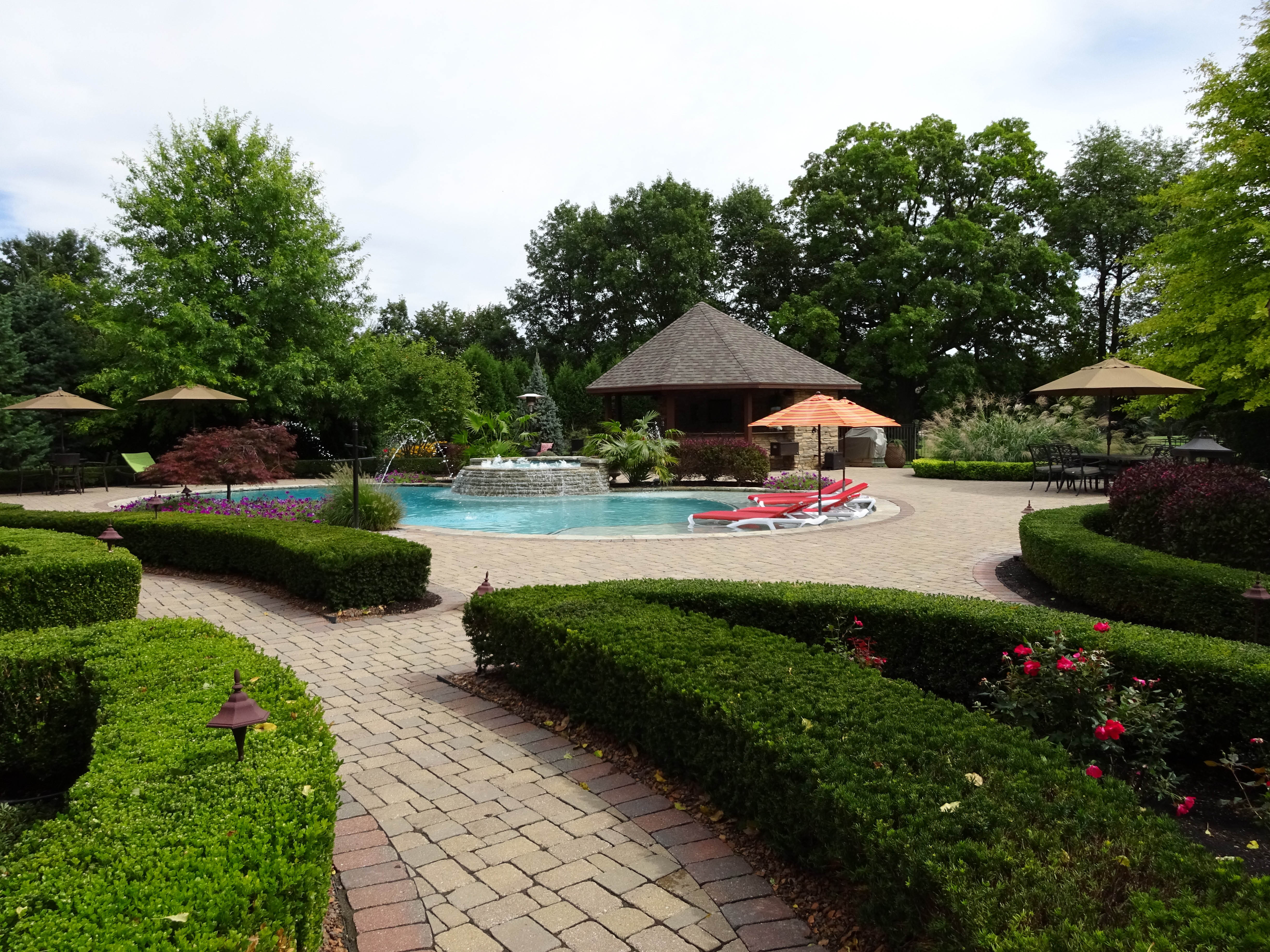 pool landscaping, patio landscaping, walkway landscaping, retaining wall construction, landscape design