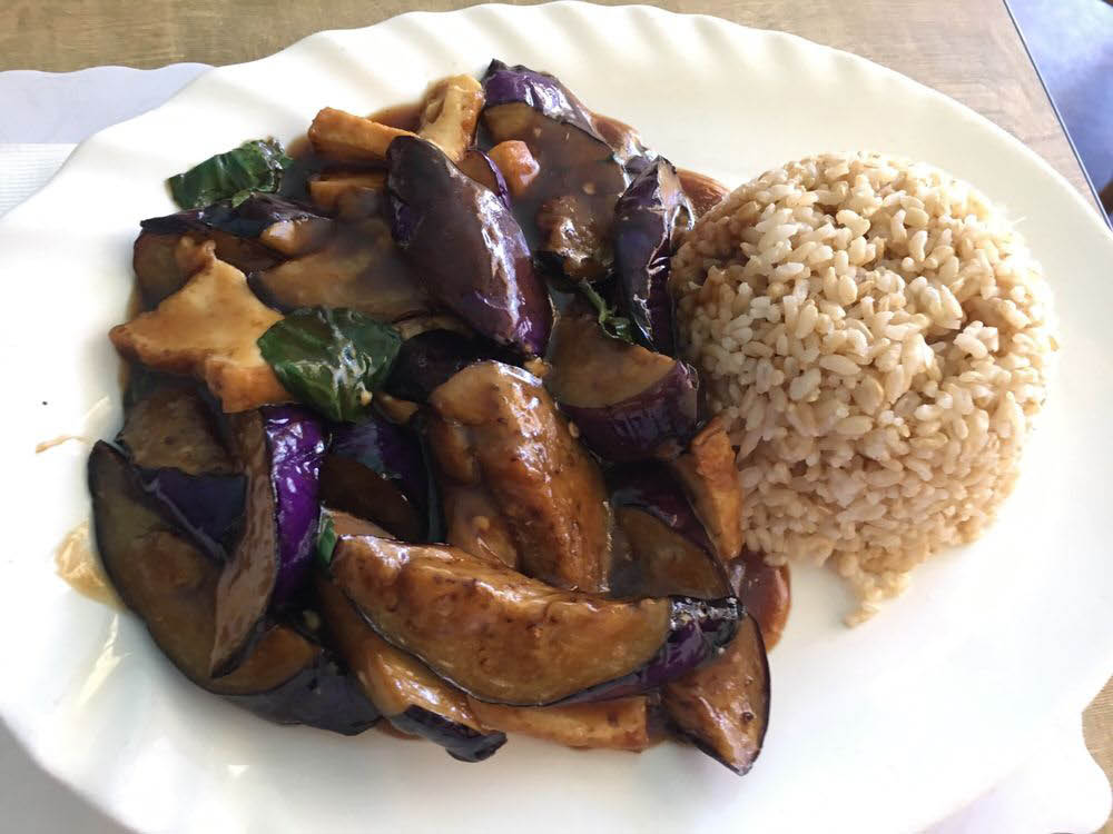 Basil eggplant with tofu and brown rice in Concord, CA