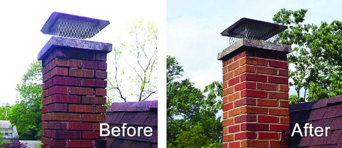 Before and after chimney services