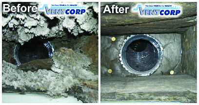 air duct before & after photo from Vent Corp in Dearborn, MI