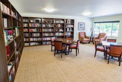 Library at Village Concepts of Auburn, WA - Brannan Park Retirement community - Auburn retirement communities near me