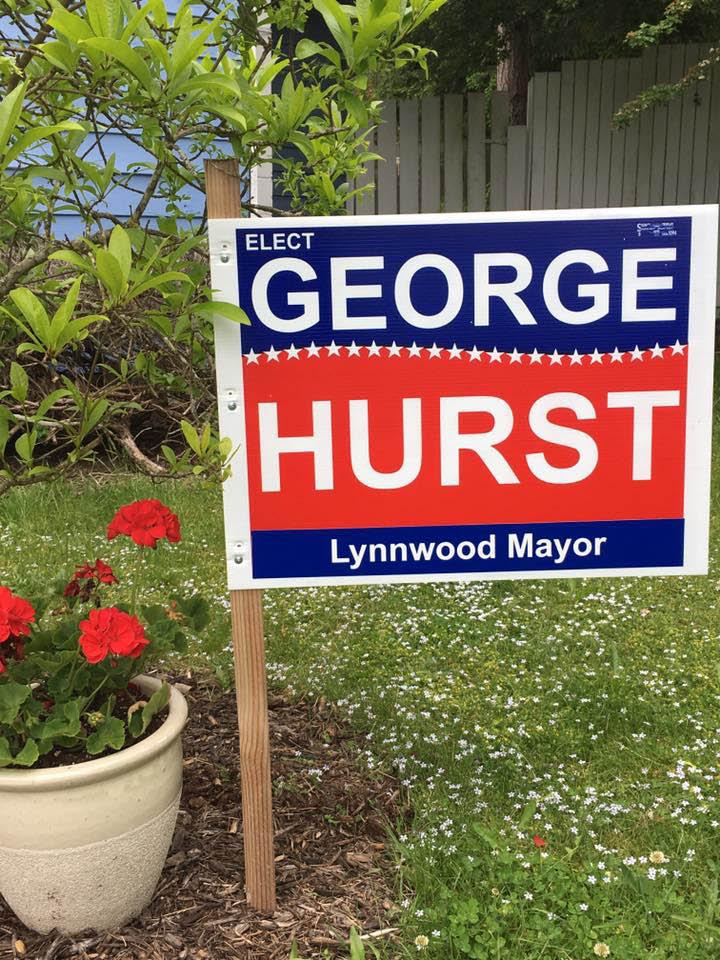 Yard sign - Vote for George Hurst - George Hurst for Mayor of Lynnwood, WA