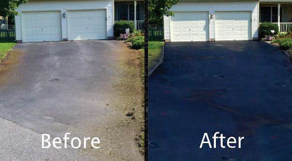 WA Driveway Repair - Before and after sealcoating of a driveway photos - sealcoat your driveway - don't repave your driveway when you can sealcoat it