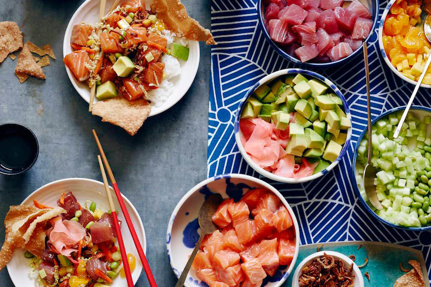 poke bowl, create your own, healthy food, order online, asian food, bubble tea; college park, md