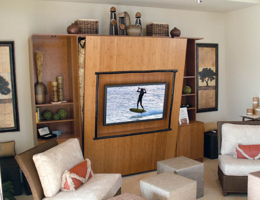 Fold down wallbed with home theater and flat screen TV - Wallbeds Northwest - Seattle, WA - Redmonds, WA