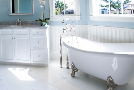 We clear the room of cobwebs and dust, then wipe clean counter tops, basins, faucets, mirrors, tub and surrounding areas.