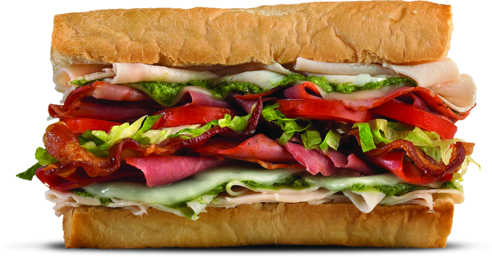 sub sandwich with tomato, lettuce, deli meats, cheese on fresh-baked roll