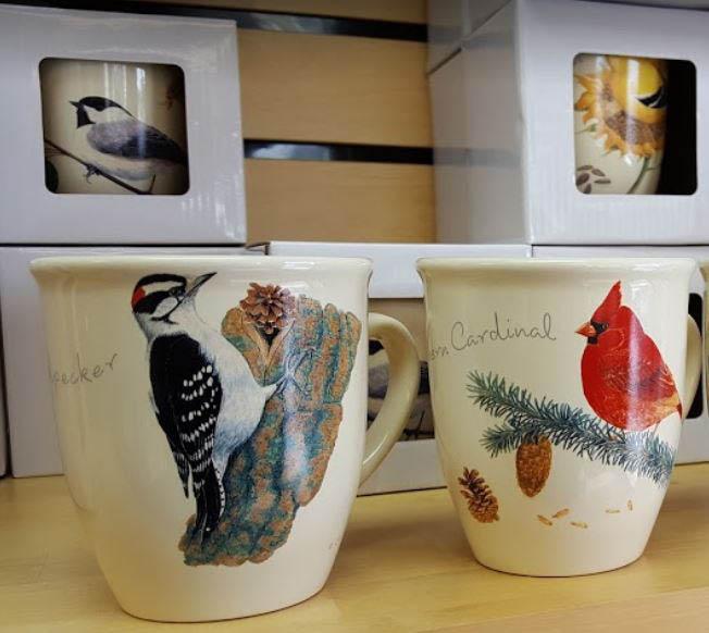 photo of bird mugs from Wild Birds Unlimited in Royal Oak, MI