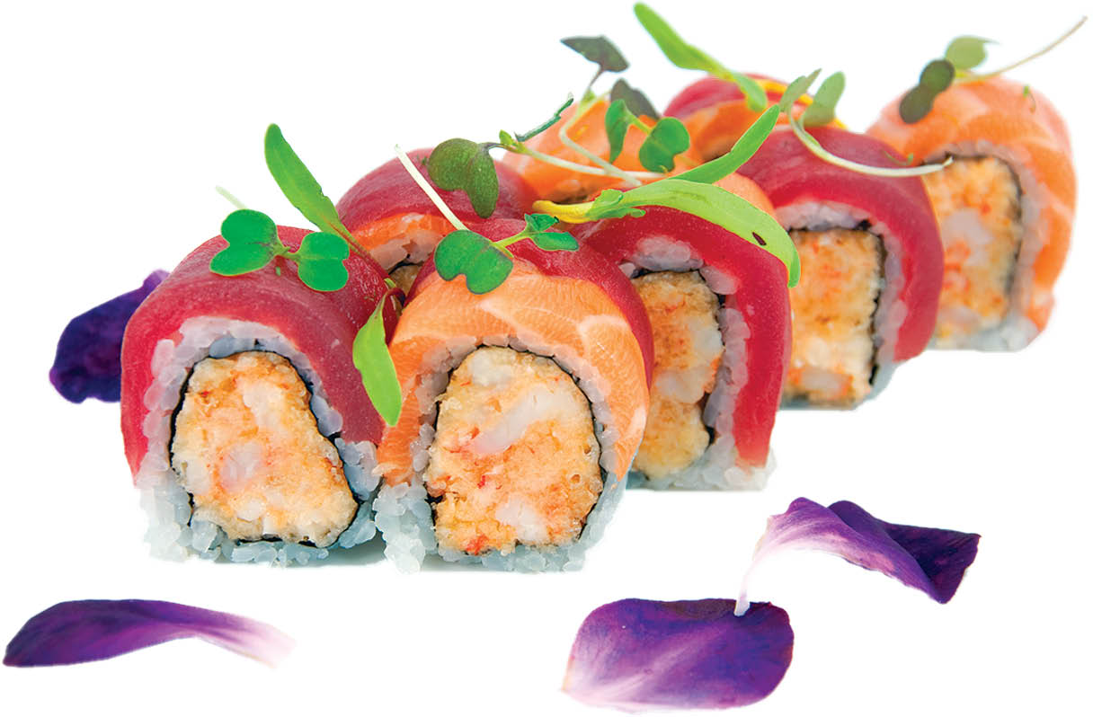 Wild Ginger sushi roll with fish on top in East Northport