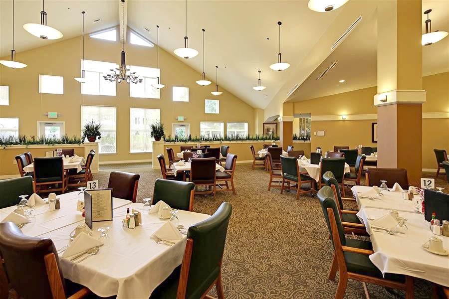 senior dining room, apartment, on-site amenities