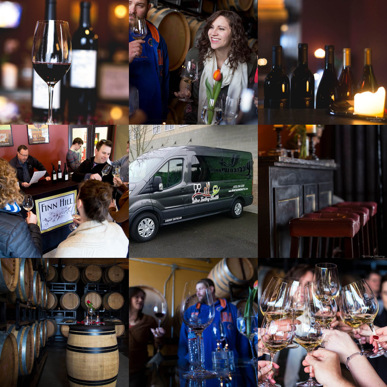 Collage of photos of Wine Tasting Shuttle in Seattle, WA - enjoy wine tasting in Seattle - Woodinville wine tasting - Seattle wine tasting at Finn Hill Winery