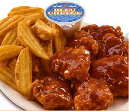 BBQ chicken wings and waffle fries from casual dining restaurant