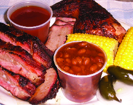 ribs smoked brisket beans corn chicken