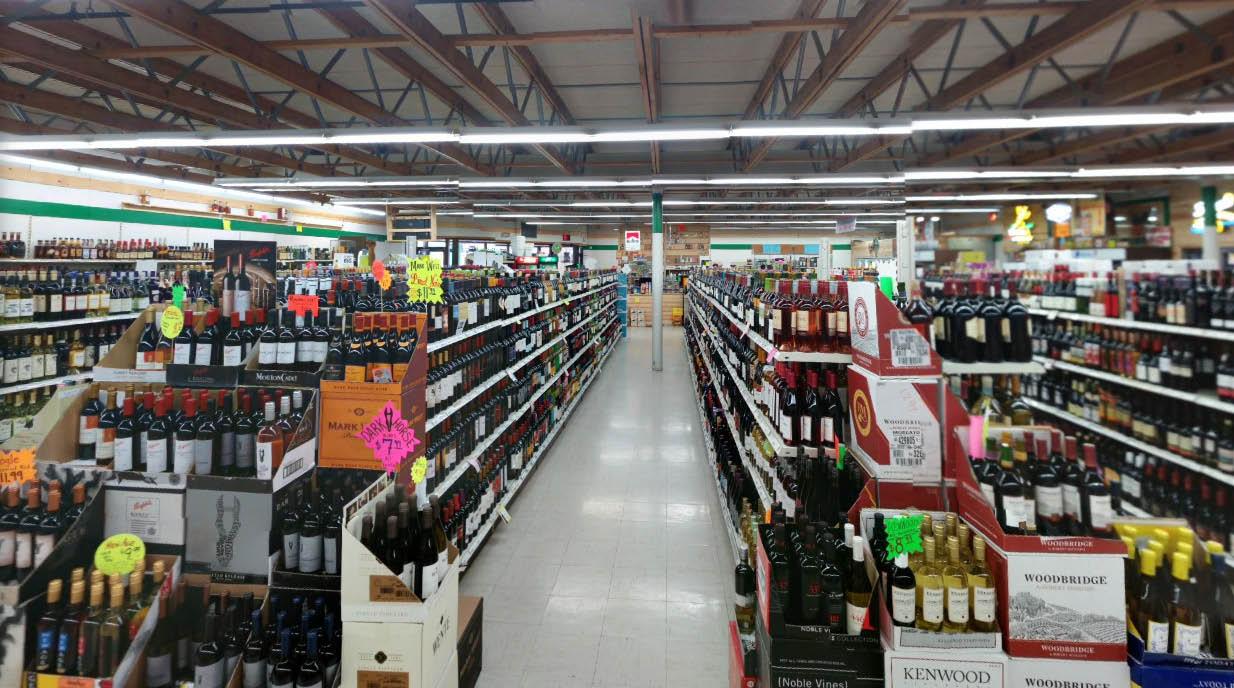 Wiser Choice Liquor shelves completely stocked