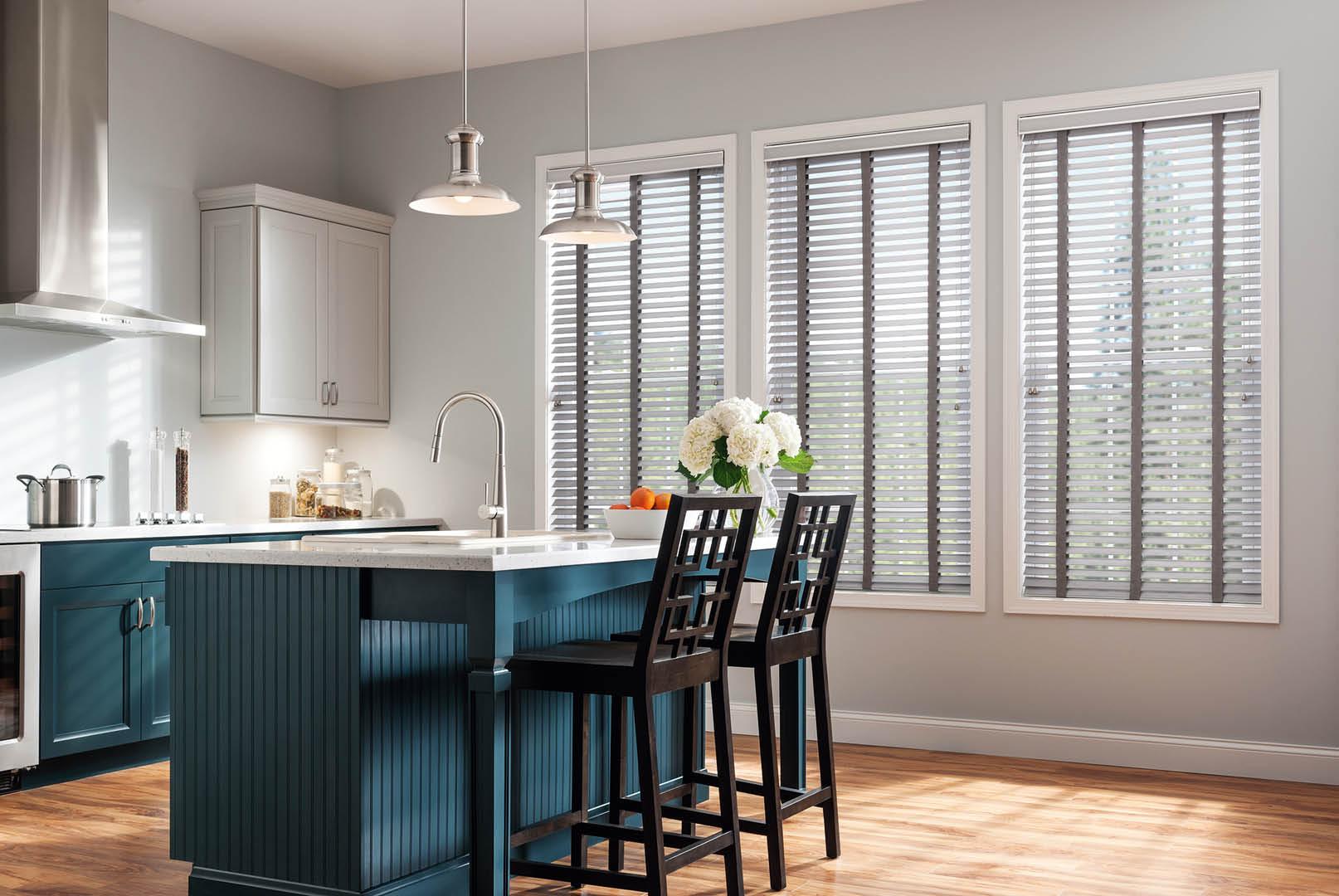 Contemporary blinds for a fresh kitchen look near Bixler, CA.