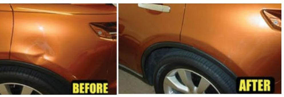 before and after photo of a dent repaired by ZA Auto Collision, Restoration & Detail in Redford, MI