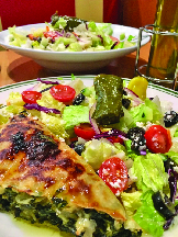Greek salad; dolmades; Mediterranean food in Long Island