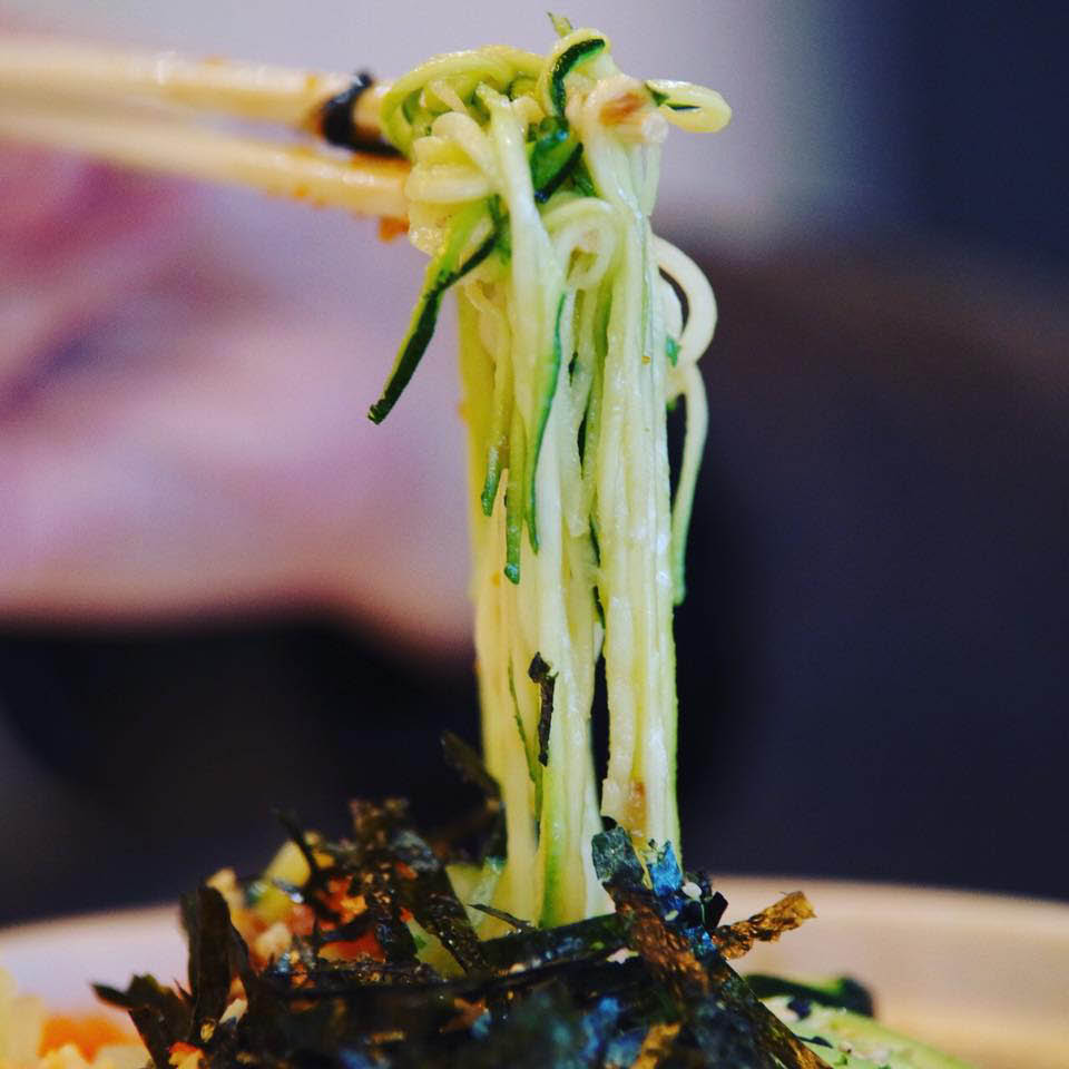 We have zucchini noodle and soba noodle for Poki bowl base
