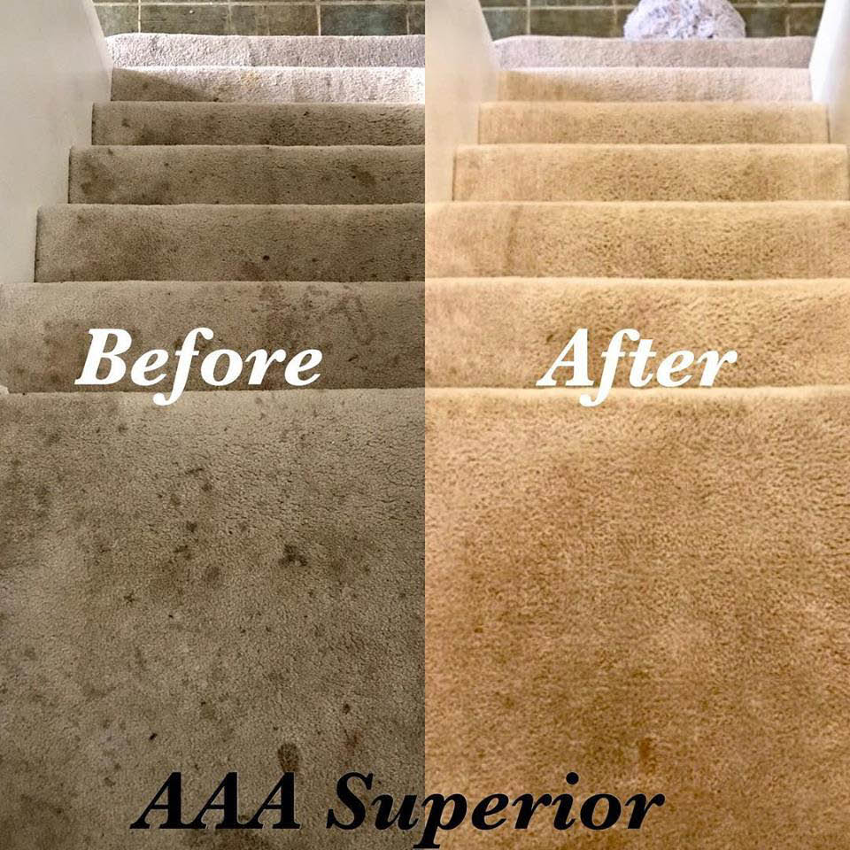 Before and after stairway cleaning by AAA Superior Carpet & Upholstery