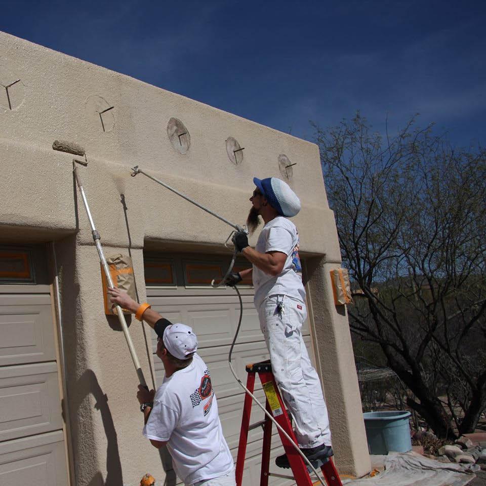exterior stucco roll & spray painting