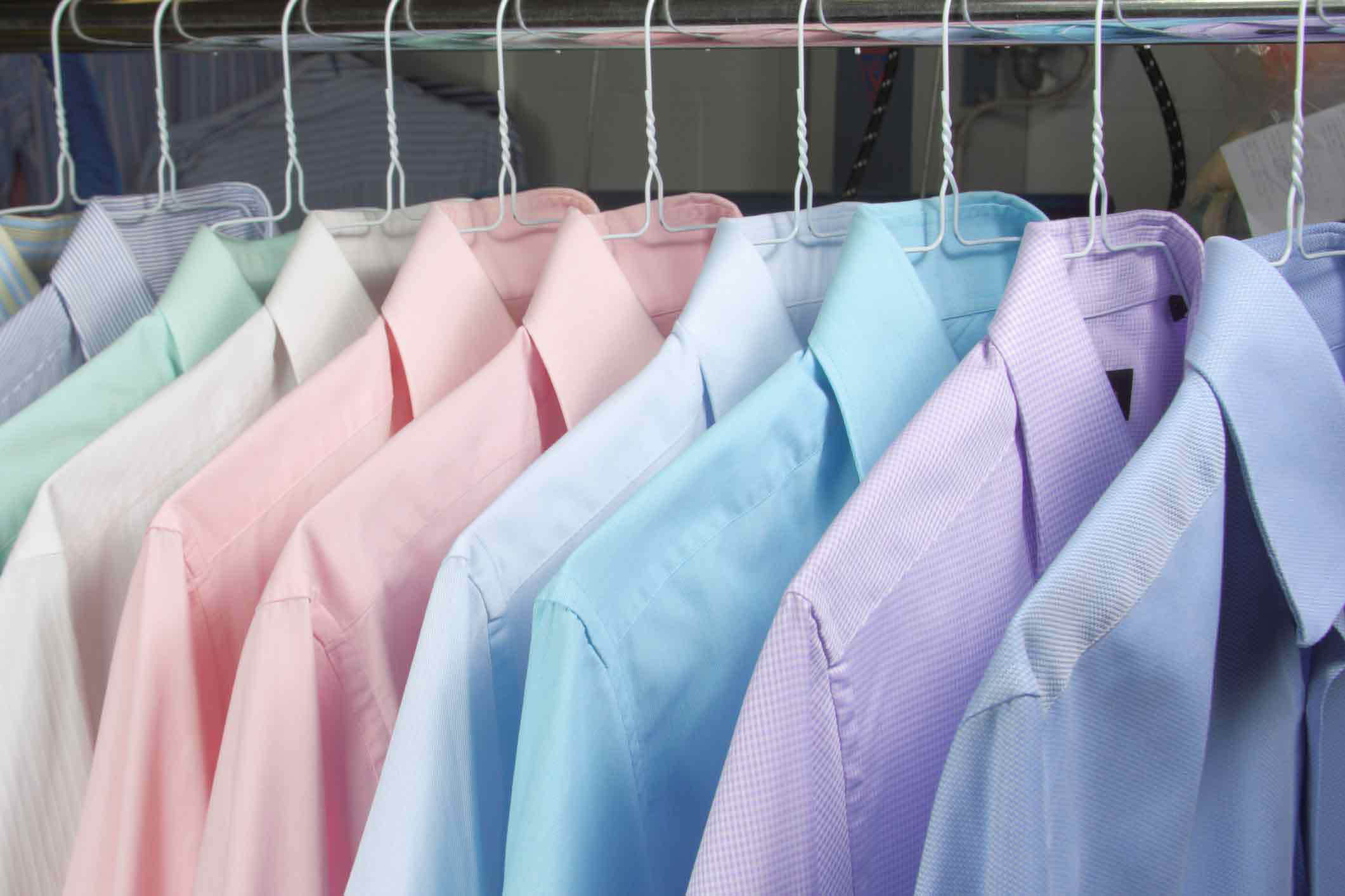 hanging dry cleaned shirts