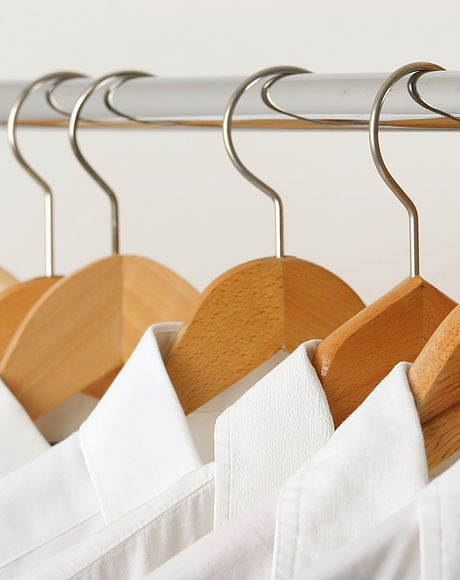 Dress shirts on hangers