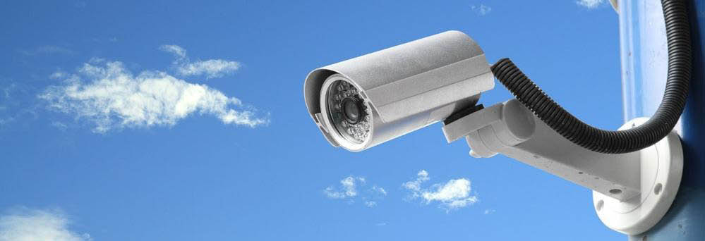 Commercial surveillance cameras and business security systems banner