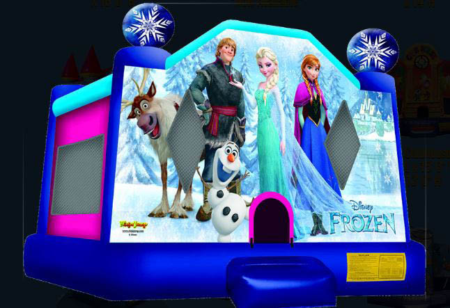 Inflatable jumping house decorated with Frozen theme.