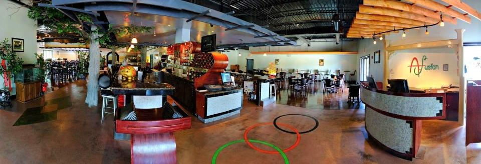 Beautiful dining room at A. Fusion Japanese steakhouse and sushi bar located in Matteson, IL.