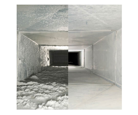 before and after indoor air duct images