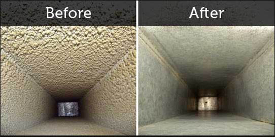 Before and after of air duct cleaning.