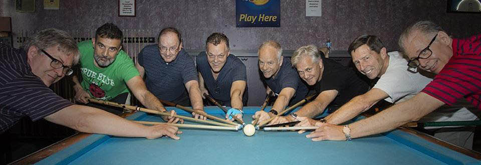 Pool players at Red Shoes Billiards bar & Grill in Alsip, IL.