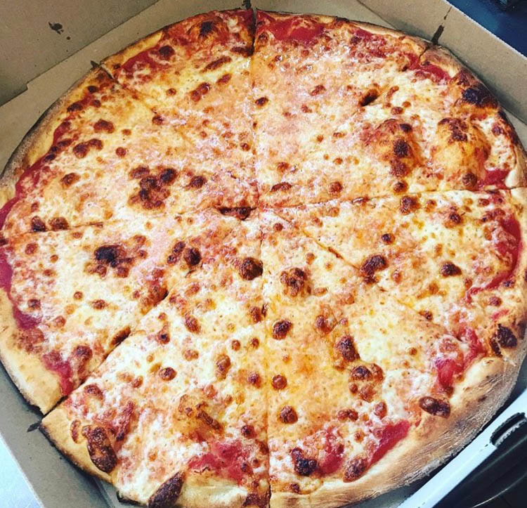 large cheese pizza in delivery box; Belleville, NJ