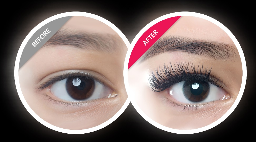 Before and After Lash Extension images