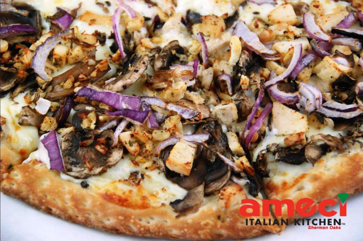 Amecis mushroom and onion thin crust pizza