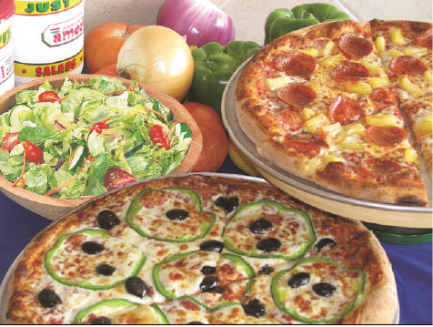Large veggie pizza and Hawaiian pizza with salad