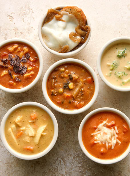 A variety of chef-made, flavor-rich, hot soups