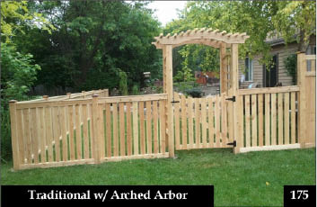 Photo of cedar fence with arbor topped gate.