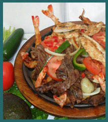 Shrimp and steak fajitas with peppers