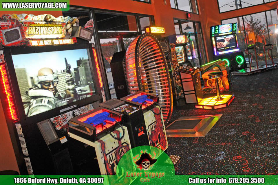 Arcade games at Laser Voyage Cafe