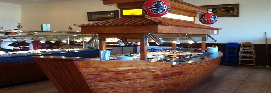 Asian boat buffet of over 200 food items banner