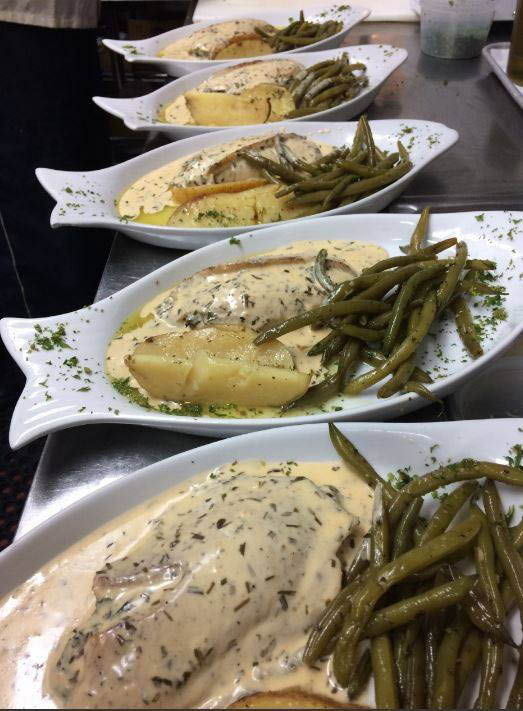 Cream grouper with green beans