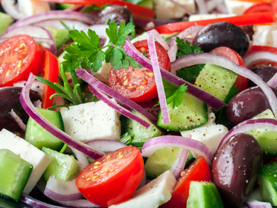 Salads made fresh at Athens Gyros.