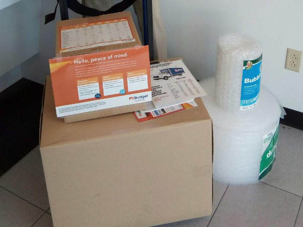 Avis Car Rental packing and moving supplies